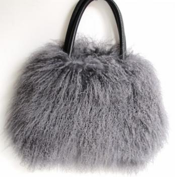 Fur bag, City Shopper from Tibetan lambskin grey