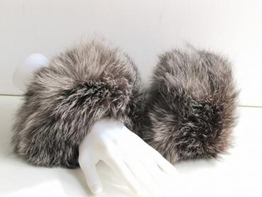 Fox fur cuff made of real silver fox in nature