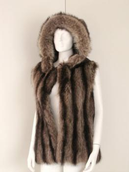 Fur vest raccoon with hood 38- 40 brown