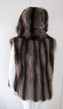 vest, raccoon ,hood, brown, upcycling