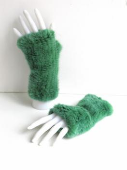 Mink gloves knitted from green mink, cuffs open at front
