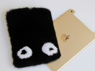 Ipad mini Cover Eyes in Black Mink real Mink