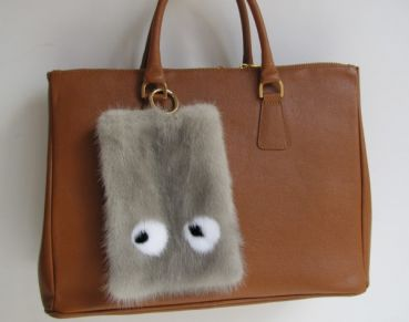 Fur bag mink pocket pendant monster eyes in sapphire grey