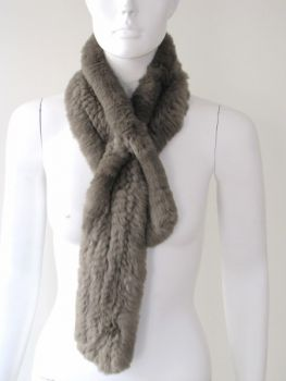 Fur scarf Rex rabbit olive grey fur loop