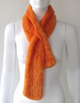 Fur scarf Rex rabbit orange fur loop