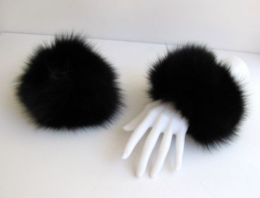 Fur cuff made of real fox in black Fox fur arm warmers