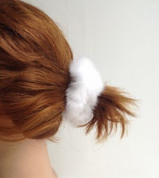 Hair Rubber Mink Scrunchie withe