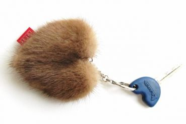 Mink heart keyfinder made of real mink pastel
