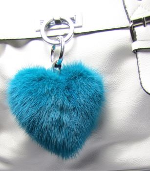 Mink heart keyfinder from real mink türquise