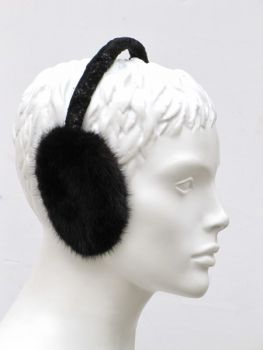 Fur ear warmer mink dark