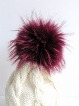 fur pompon, caps fur pompon made of real fur berry