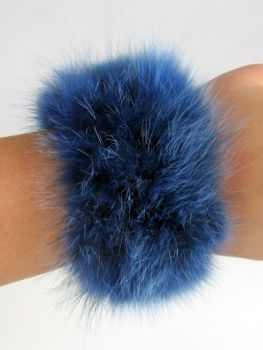 Fox fur bracelets blue arm warmers