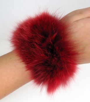 Fox bracelets fur cuffs in red