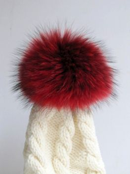 Fur Pompon Real Raccoon Poodle Caps Fur Pompon Red