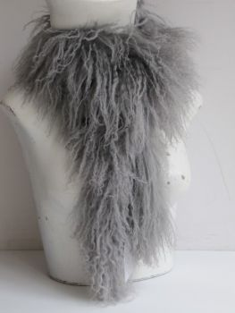 Tibet, Lamb, Stole ,Tibit ,Scarf, grey, curly