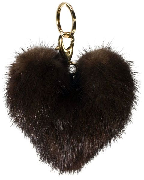 Bag Charm Mink Heart black