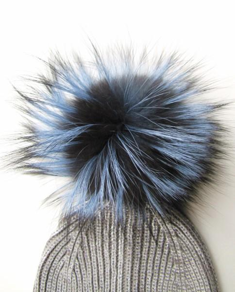 fur bobble silver fox blue big