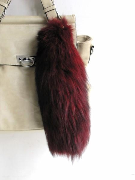 Foxtail bag pendant 'First Fox' silver fox red