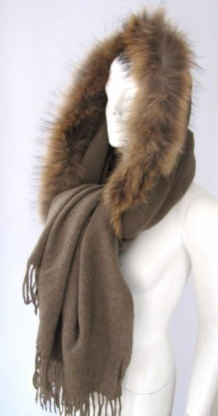 cape, wool, scarf, taupe , raccoon