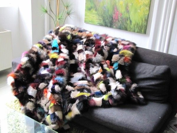 Fur ,Patchwork ,rug ,Colourful