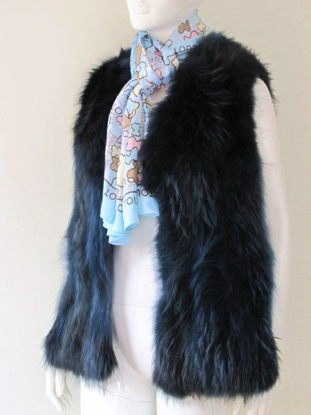 Fox vest real fur of ink blue fox