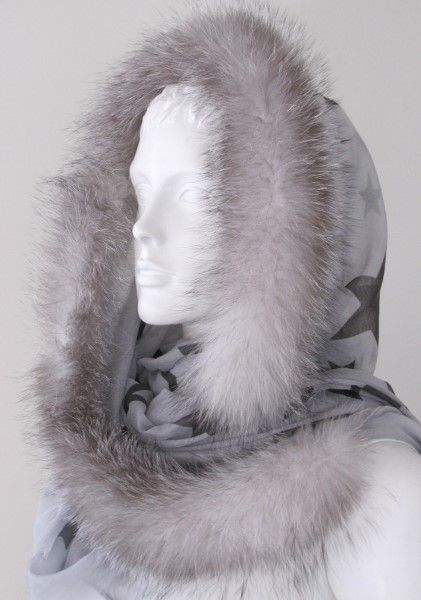 silk,scarf,bandana,fur,fox,grey