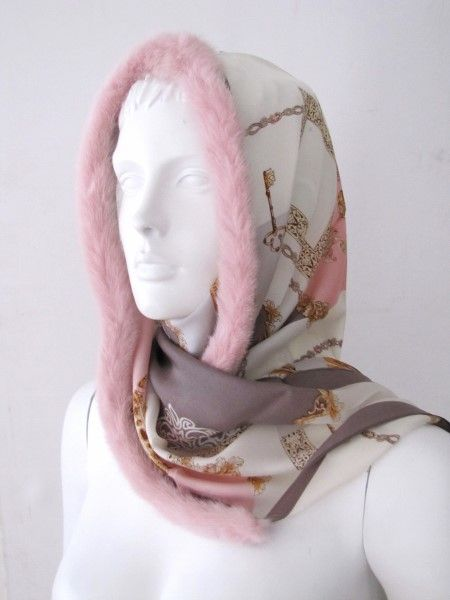 Silkscarf, silk ,scarf ,real ,mink, fur ,rose