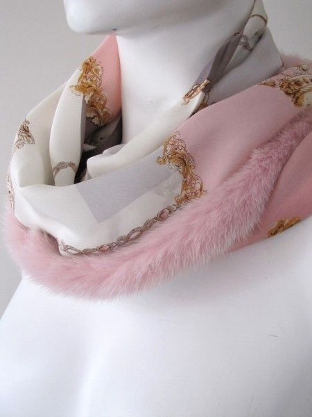 Silkscarf, silk ,scarf ,real ,mink
