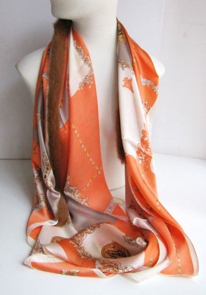Silk ,scarf ,genuine, fur, mink ,orange, caramel