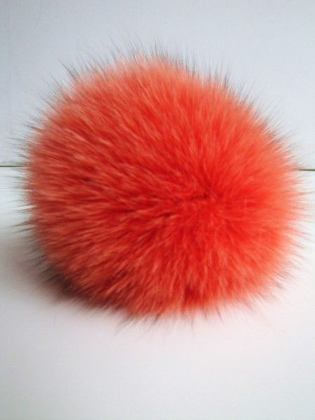 Bobble, pompom, real, fox ,fur , orange