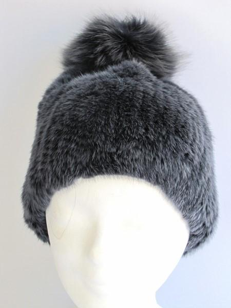 bobble ,hat ,fox ,fur, anthracite, Mink