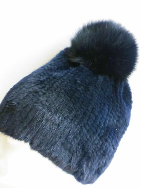 Fur ,bobble, cap ,fox ,bobble ,blue