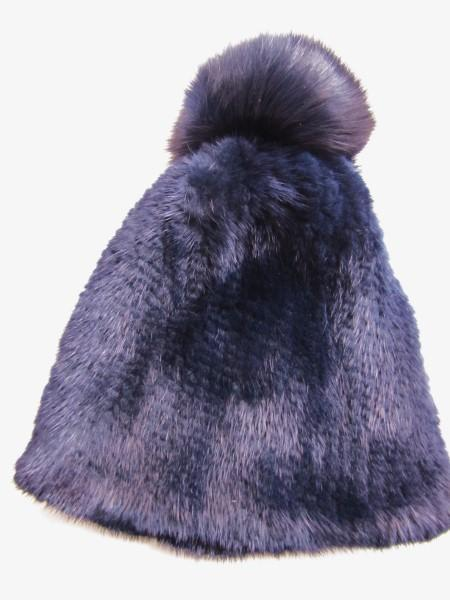 cap ,fox ,bobble ,blue, mink