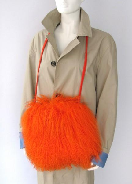 Muff Tibet Lamb Fur Muff with Bag and Hand Warmer orange