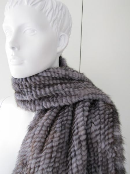 Mink scarf knitted gray mink fur